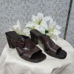 Enzo Angiolini Womens Anton Brown Leather Mules9M